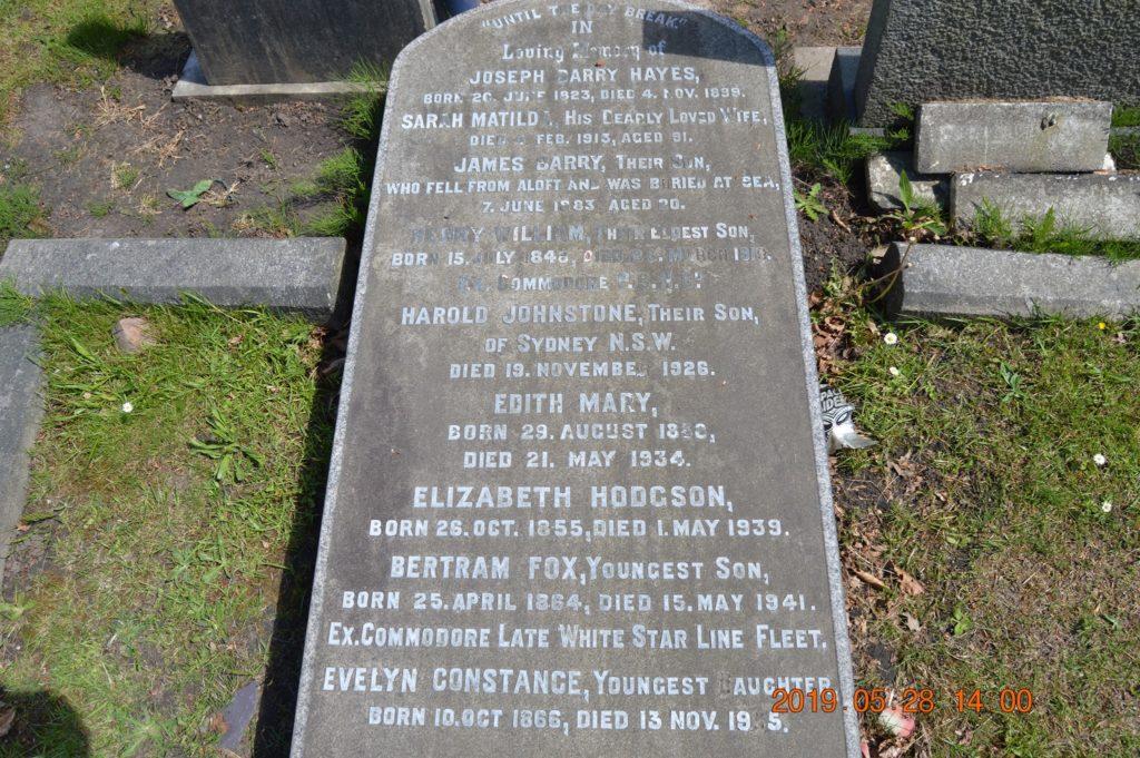 la pierre tombale de Bertram Fox Hayes