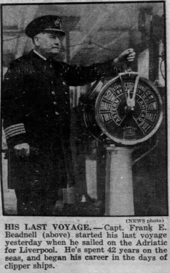 capitaines du rms olympic : f.E. Beadnell