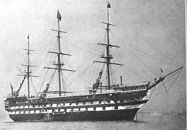 le HMS Conway sur lequel s'entrainent les cadets